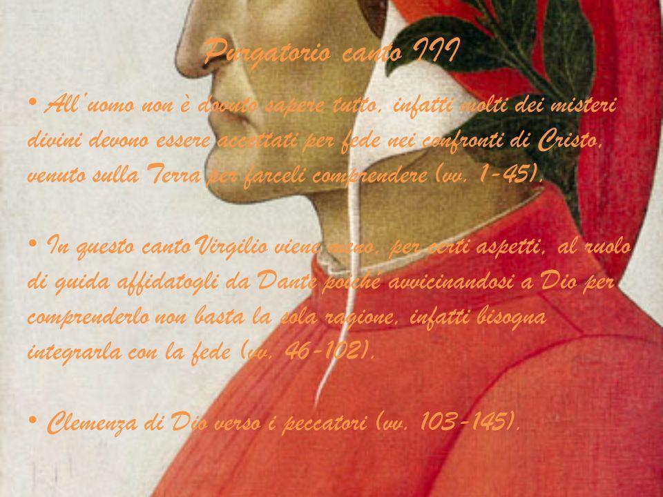 Purgatorio canto XXX Tempo: 13 Aprile 1300, mercoledì dopo Pasqua.