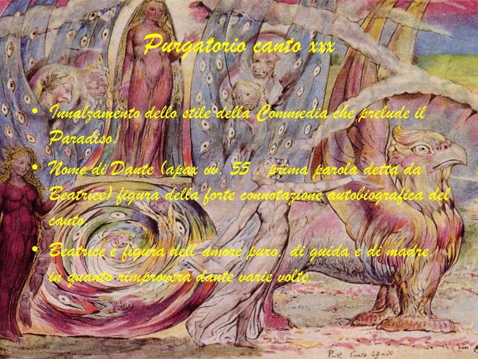 Purgatorio canto xxx Innalzamento dello stile della Commedia che prelude il Paradiso. Nome di Dante (apax vv. 55, prima parola detta da Beatrice) figu