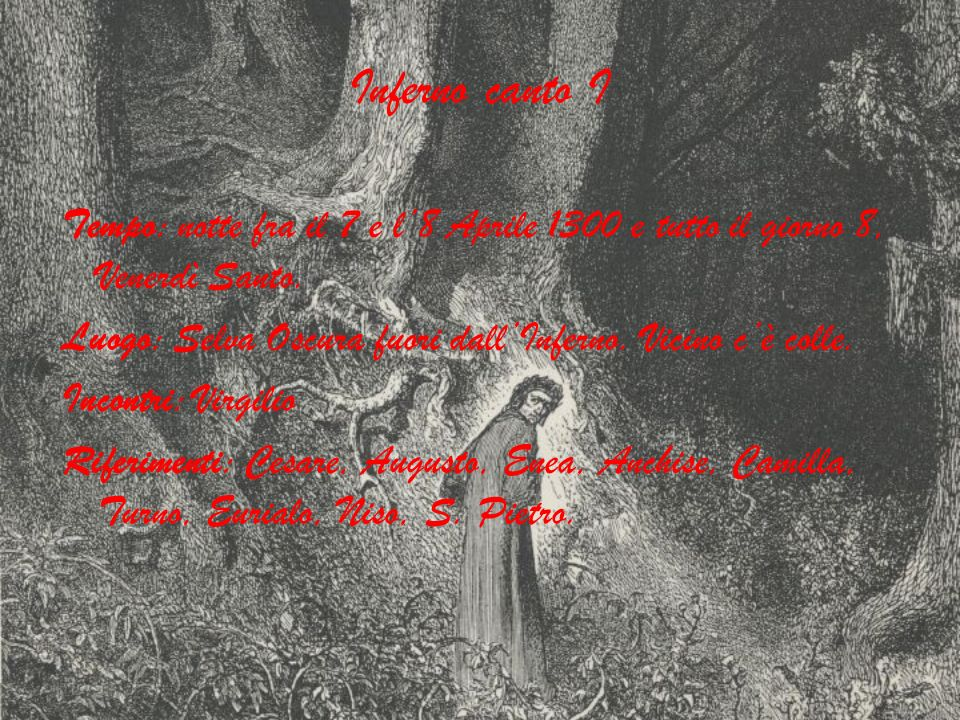 Inferno canto I Tempo: notte fra il 7 e l8 Aprile 1300 e tutto il giorno 8, Venerdì Santo. Luogo: Selva Oscura fuori dallInferno. Vicino cè colle. Inc