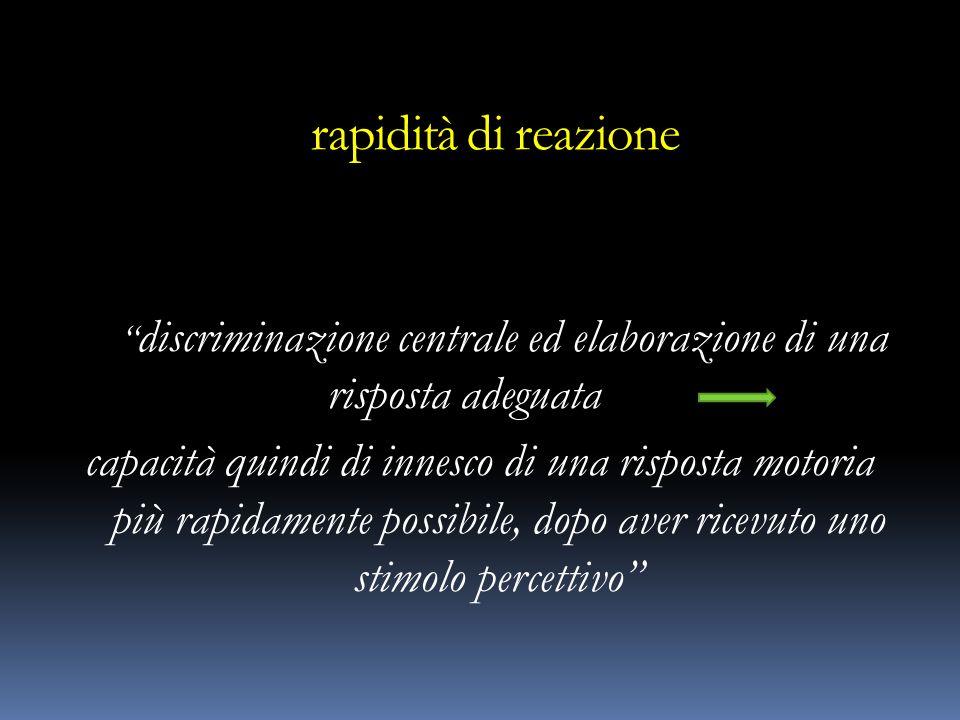 rapidità di reazione discriminazione centrale ed elaborazione di una risposta adeguata capacità quindi di innesco di una risposta motoria più rapidame