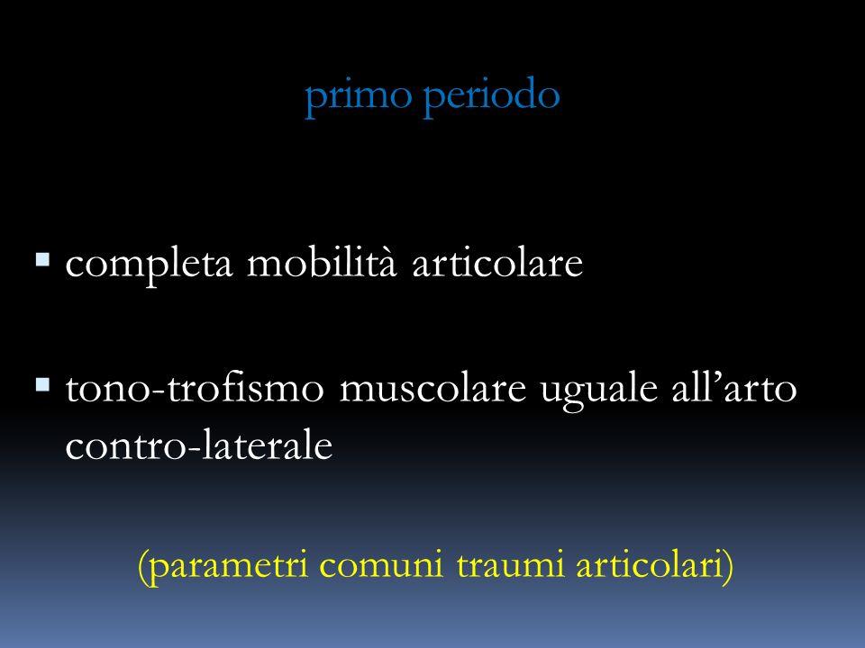 primo periodo completa mobilità articolare tono-trofismo muscolare uguale allarto contro-laterale (parametri comuni traumi articolari)