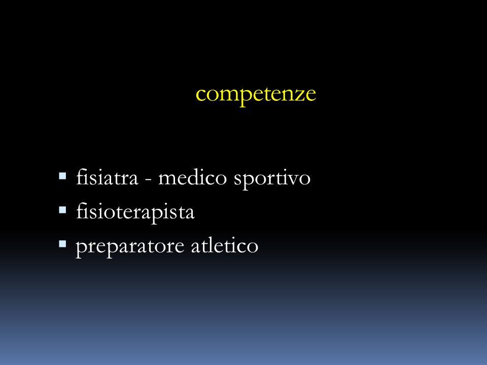 competenze fisiatra - medico sportivo fisioterapista preparatore atletico