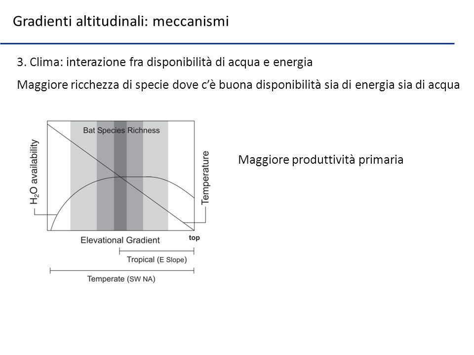 Maggiore ricchezza di specie dove cè buona disponibilità sia di energia sia di acqua Maggiore produttività primaria Gradienti altitudinali: meccanismi