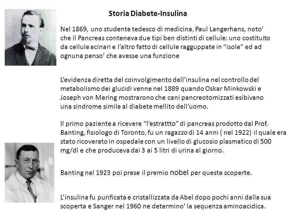Nel 1869, uno studente tedesco di medicina, Paul Langerhans, noto che il Pancreas conteneva due tipi ben distinti di cellule: uno costituito da cellul