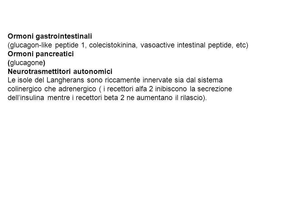 Ormoni gastrointestinali (glucagon-like peptide 1, colecistokinina, vasoactive intestinal peptide, etc) Ormoni pancreatici (glucagone) Neurotrasmettit