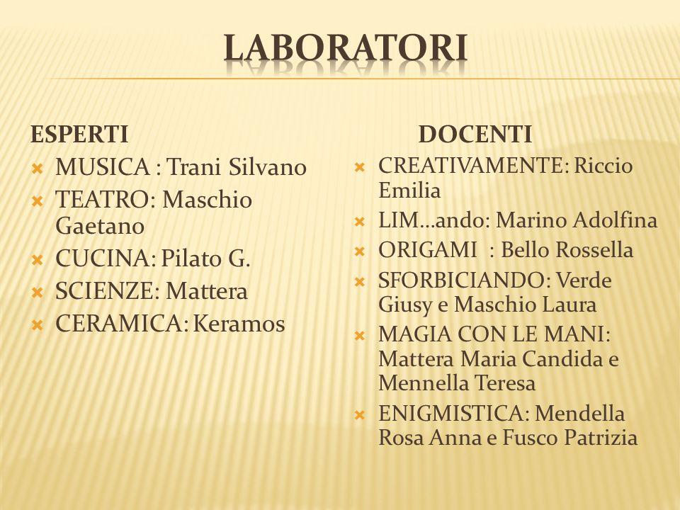 ESPERTI MUSICA : Trani Silvano TEATRO: Maschio Gaetano CUCINA: Pilato G.