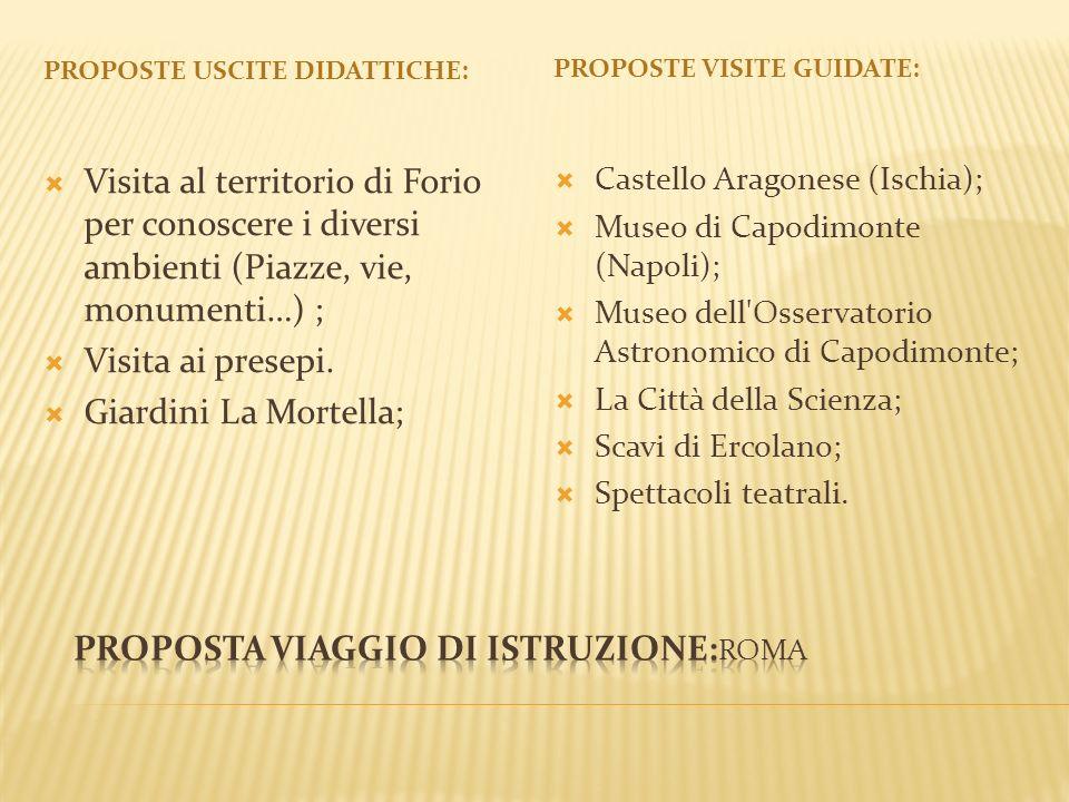 PROPOSTE USCITE DIDATTICHE: PROPOSTE VISITE GUIDATE: Visita al territorio di Forio per conoscere i diversi ambienti (Piazze, vie, monumenti…) ; Visita ai presepi.