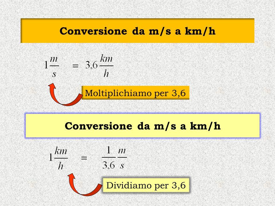 Conversione da m/s a km/h Moltiplichiamo per 3,6 Conversione da m/s a km/h Dividiamo per 3,6