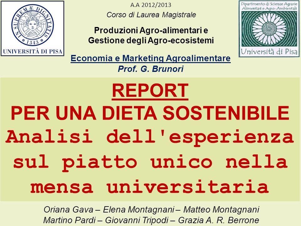 Corso di Laurea Magistrale Produzioni Agro-alimentari e Gestione degli Agro-ecosistemi Economia e Marketing Agroalimentare Prof. G. Brunori A.A 2012/2