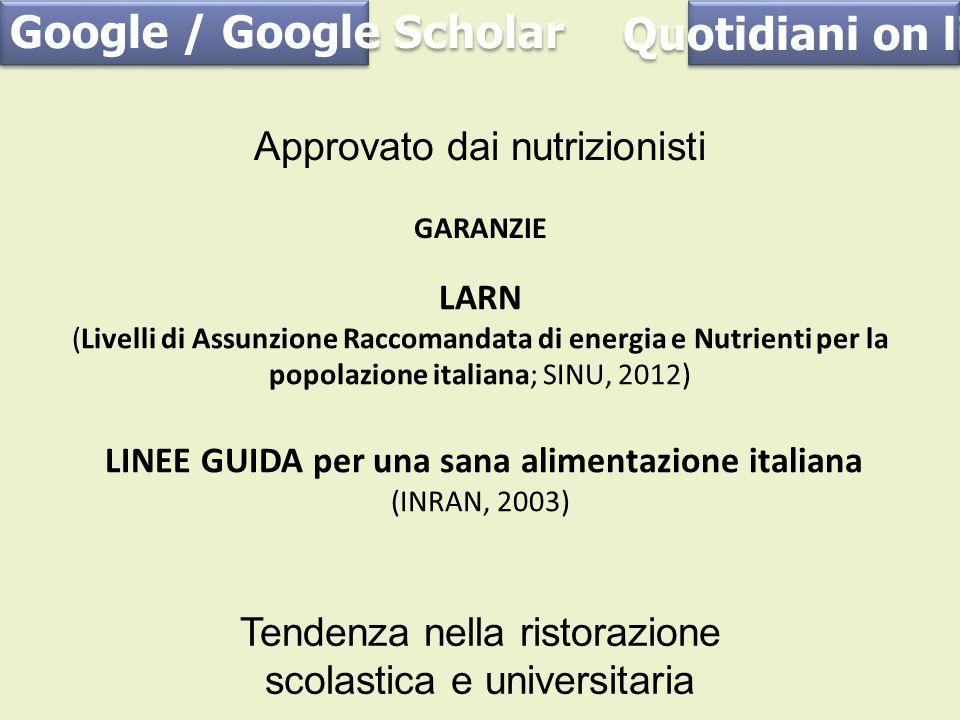 Approvato dai nutrizionisti Quotidiani on line Google / Google Scholar Tendenza nella ristorazione scolastica e universitaria GARANZIE LARN (Livelli d