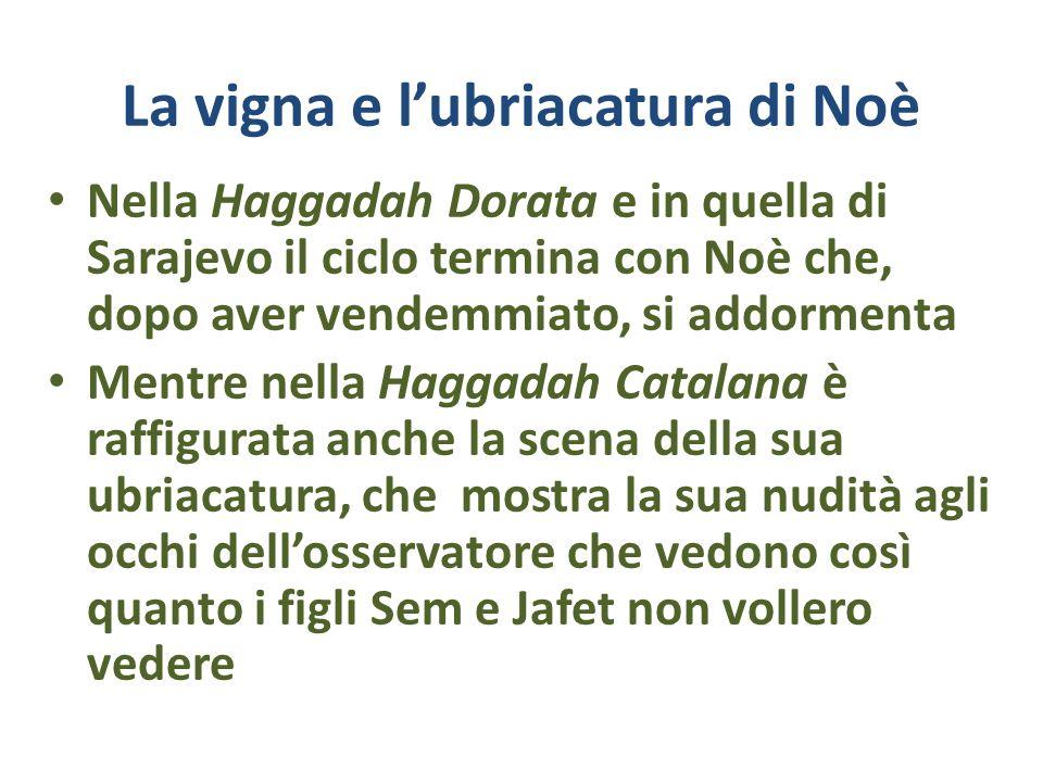 La vigna e lubriacatura di Noè Nella Haggadah Dorata e in quella di Sarajevo il ciclo termina con Noè che, dopo aver vendemmiato, si addormenta Mentre