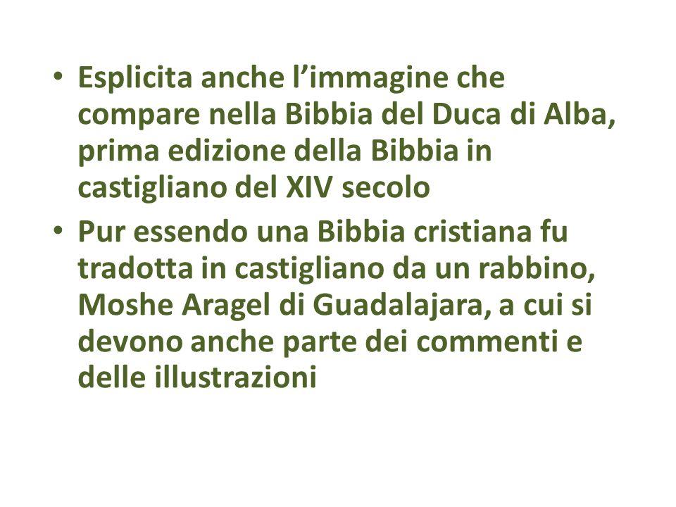 Esplicita anche limmagine che compare nella Bibbia del Duca di Alba, prima edizione della Bibbia in castigliano del XIV secolo Pur essendo una Bibbia