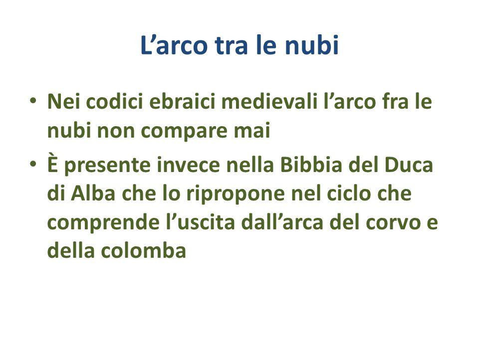 Larco tra le nubi Nei codici ebraici medievali larco fra le nubi non compare mai È presente invece nella Bibbia del Duca di Alba che lo ripropone nel