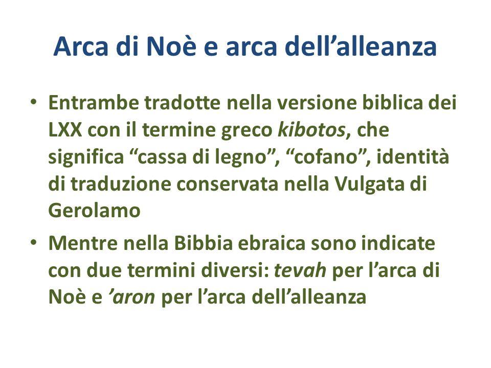 Arca di Noè e arca dellalleanza Entrambe tradotte nella versione biblica dei LXX con il termine greco kibotos, che significa cassa di legno, cofano, i