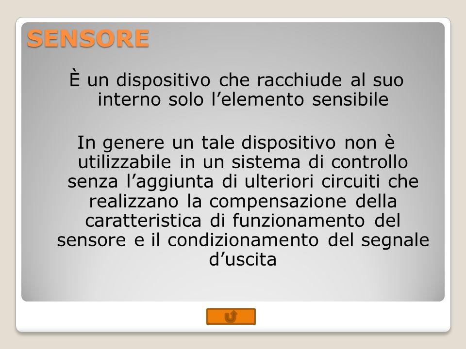 SENSORE È un dispositivo che racchiude al suo interno solo lelemento sensibile In genere un tale dispositivo non è utilizzabile in un sistema di contr