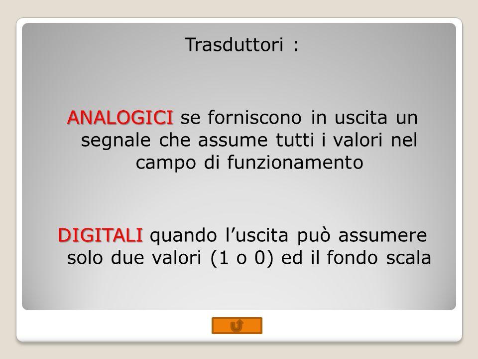 Trasduttori : ANALOGICI ANALOGICI se forniscono in uscita un segnale che assume tutti i valori nel campo di funzionamento DIGITALI DIGITALI quando lus