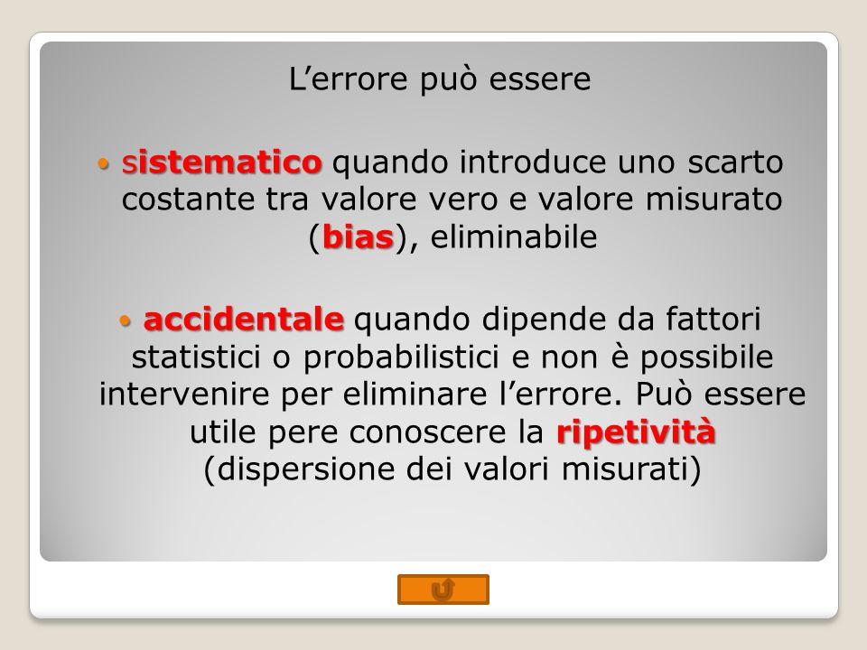 Lerrore può essere sistematico bias sistematico quando introduce uno scarto costante tra valore vero e valore misurato (bias), eliminabile accidentale