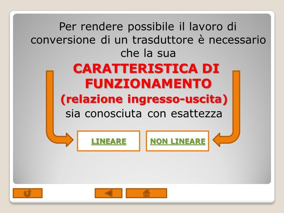 Per rendere possibile il lavoro di conversione di un trasduttore è necessario che la sua CARATTERISTICA DI FUNZIONAMENTO (relazione ingresso-uscita) s