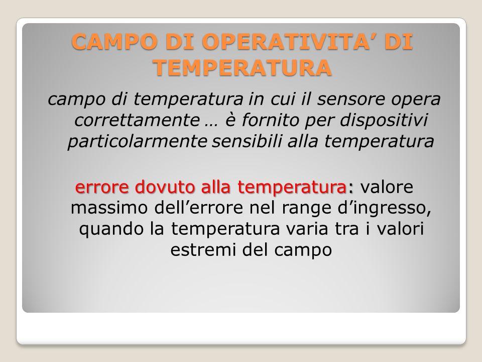 CAMPO DI OPERATIVITA DI TEMPERATURA campo di temperatura in cui il sensore opera correttamente … è fornito per dispositivi particolarmente sensibili a