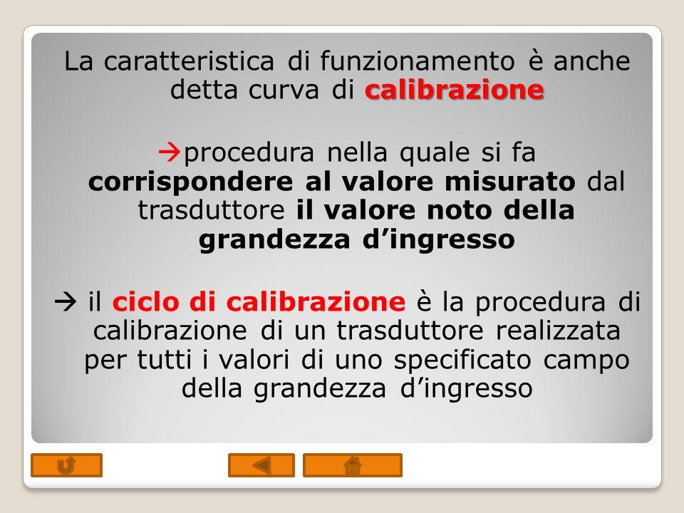 calibrazione La caratteristica di funzionamento è anche detta curva di calibrazione procedura nella quale si fa corrispondere al valore misurato dal t