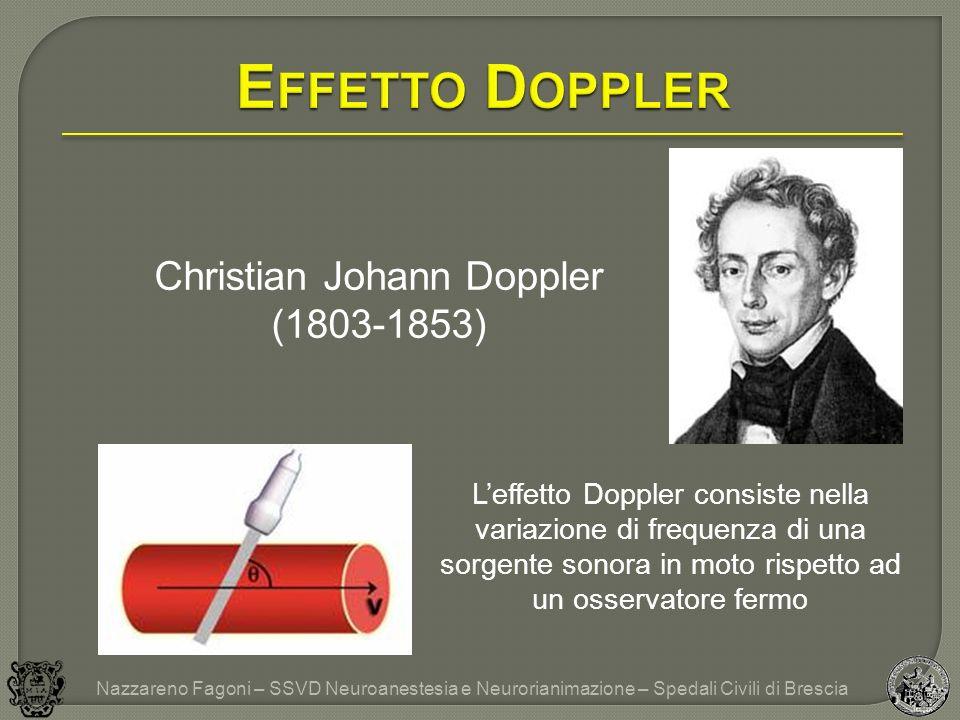 Christian Johann Doppler (1803-1853) Nazzareno Fagoni – SSVD Neuroanestesia e Neurorianimazione – Spedali Civili di Brescia Leffetto Doppler consiste nella variazione di frequenza di una sorgente sonora in moto rispetto ad un osservatore fermo