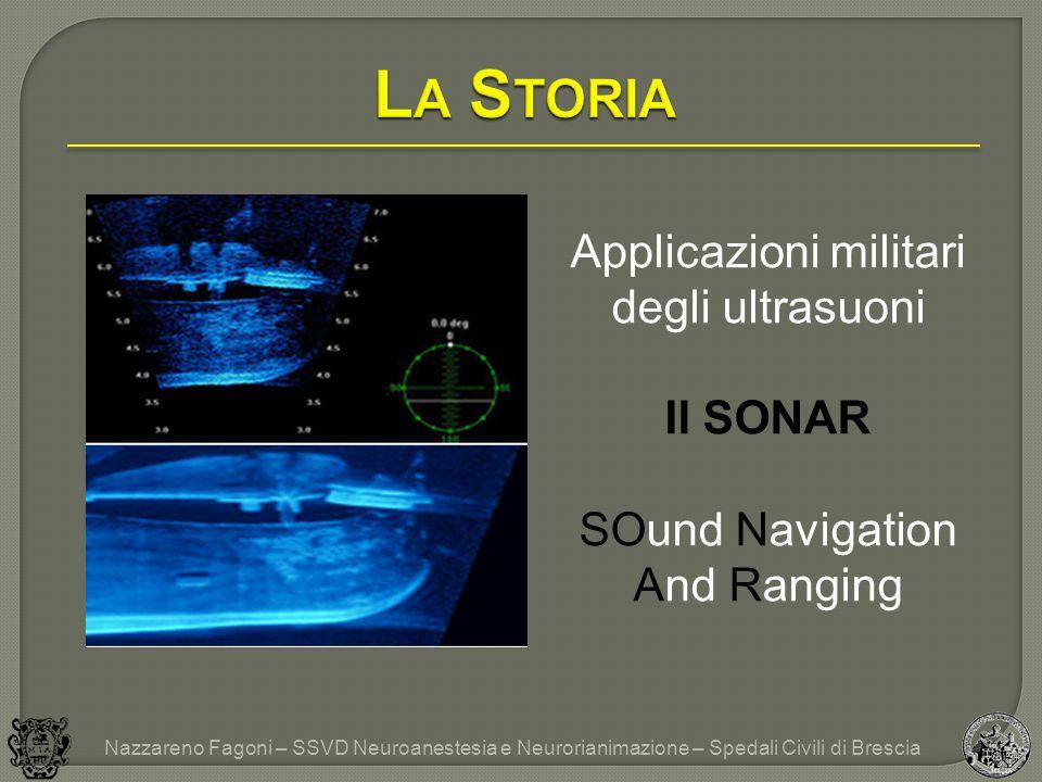 Applicazioni militari degli ultrasuoni Il SONAR SOund Navigation And Ranging Nazzareno Fagoni – SSVD Neuroanestesia e Neurorianimazione – Spedali Civili di Brescia