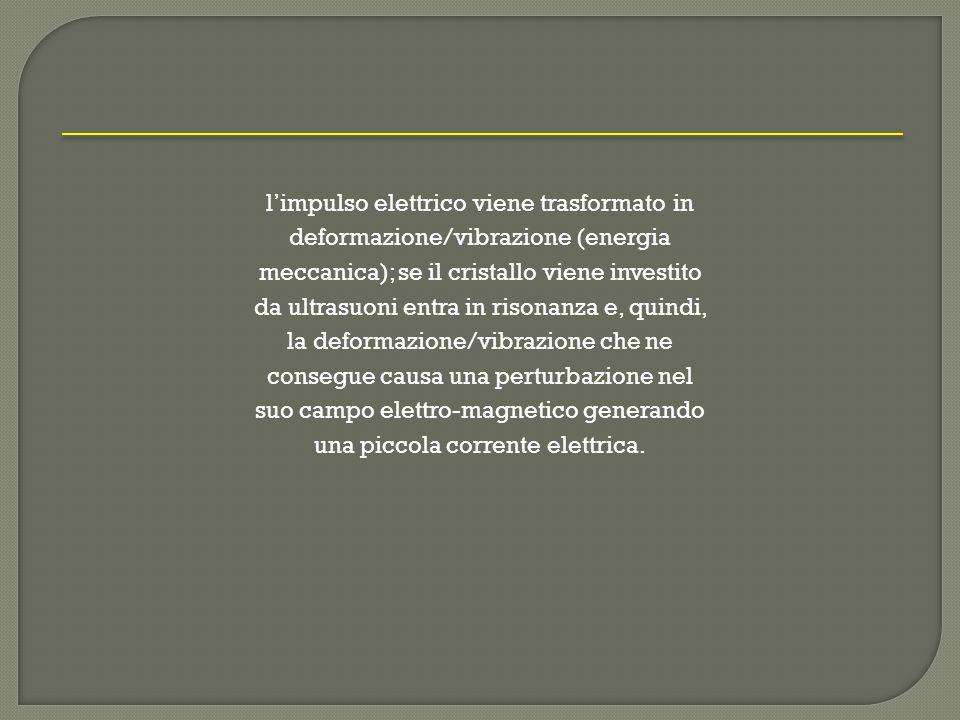 limpulso elettrico viene trasformato in deformazione/vibrazione (energia meccanica); se il cristallo viene investito da ultrasuoni entra in risonanza e, quindi, la deformazione/vibrazione che ne consegue causa una perturbazione nel suo campo elettro-magnetico generando una piccola corrente elettrica.