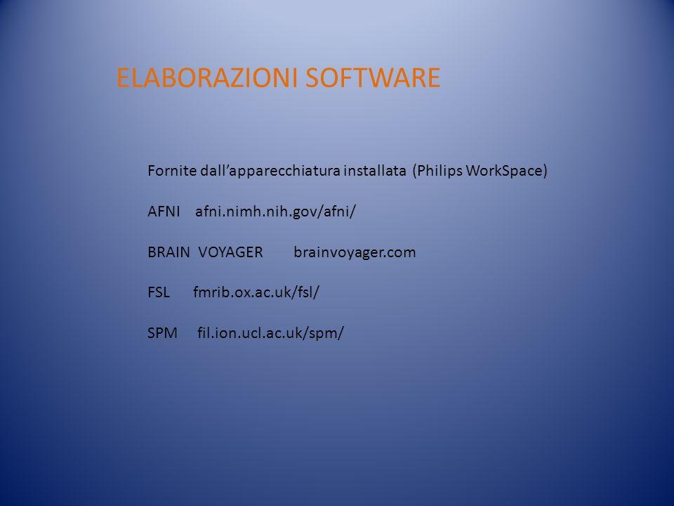 ELABORAZIONI SOFTWARE Fornite dallapparecchiatura installata (Philips WorkSpace) AFNI afni.nimh.nih.gov/afni/ BRAIN VOYAGER brainvoyager.com FSL fmrib