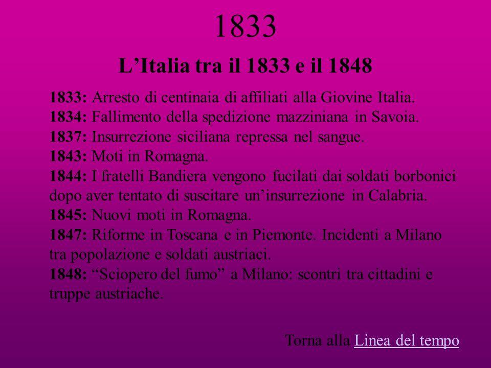 1833 LItalia tra il 1833 e il 1848 1833: Arresto di centinaia di affiliati alla Giovine Italia. 1834: Fallimento della spedizione mazziniana in Savoia