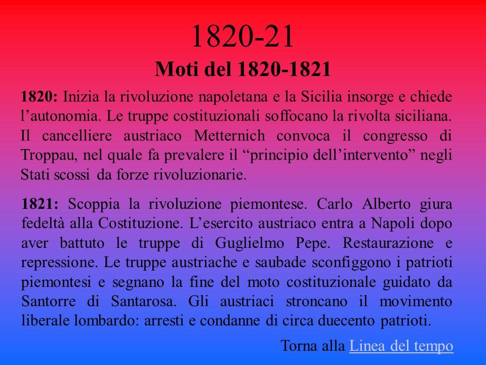1820-21 Moti del 1820-1821 Torna alla Linea del tempoLinea del tempo 1820: Inizia la rivoluzione napoletana e la Sicilia insorge e chiede lautonomia.