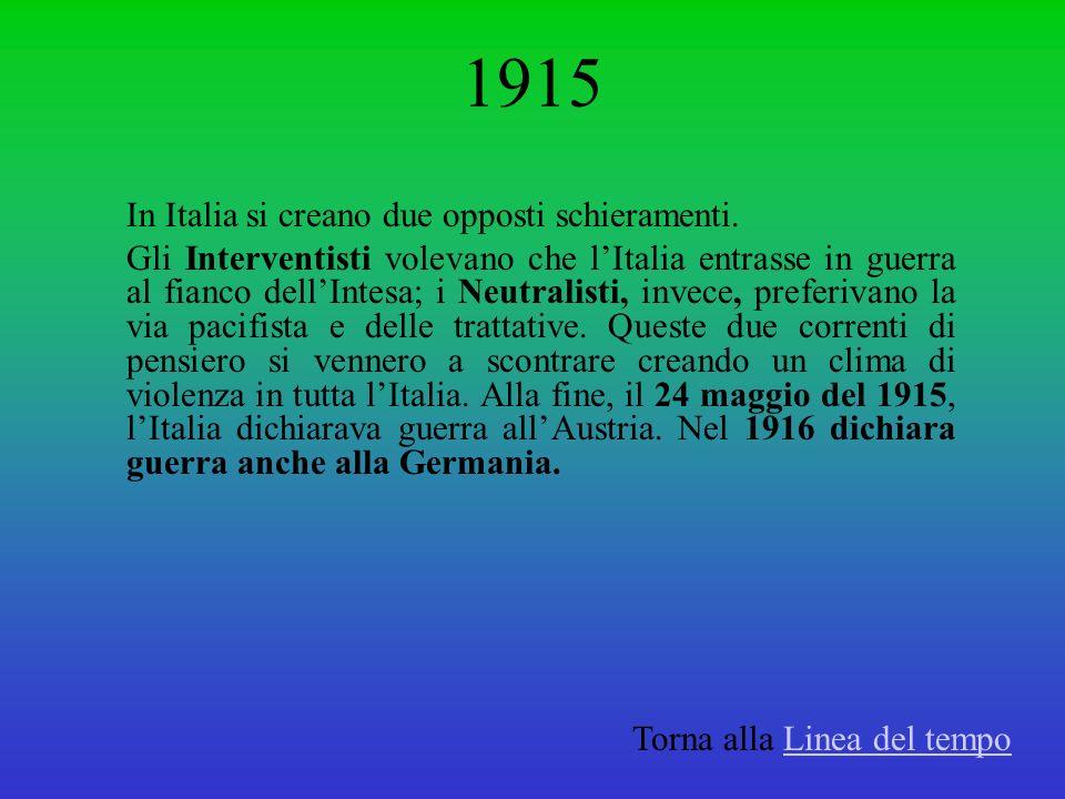 1915 In Italia si creano due opposti schieramenti. Gli Interventisti volevano che lItalia entrasse in guerra al fianco dellIntesa; i Neutralisti, inve