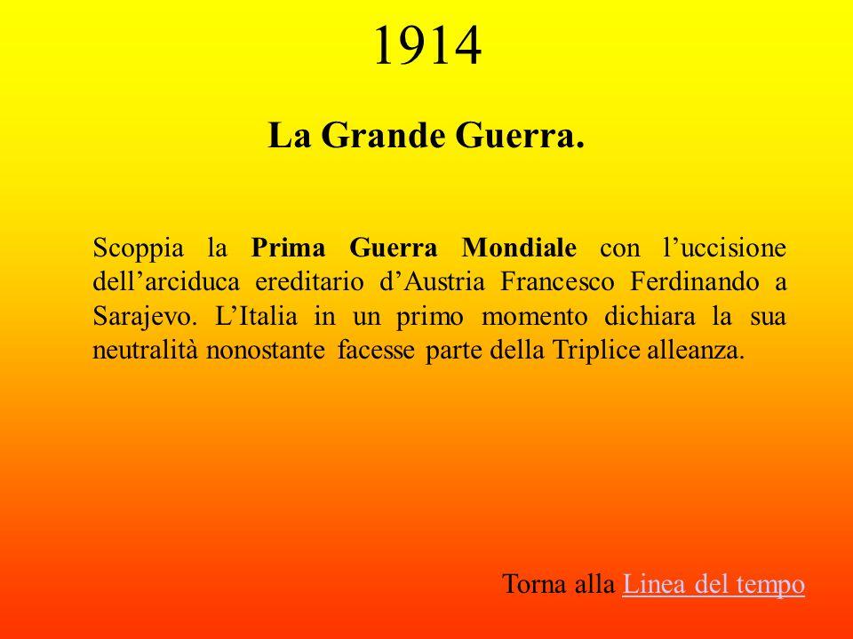 1914 La Grande Guerra. Scoppia la Prima Guerra Mondiale con luccisione dellarciduca ereditario dAustria Francesco Ferdinando a Sarajevo. LItalia in un