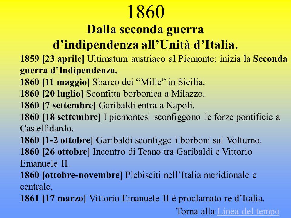 1860 Dalla seconda guerra dindipendenza allUnità dItalia. 1859 [23 aprile] Ultimatum austriaco al Piemonte: inizia la Seconda guerra dIndipendenza. 18