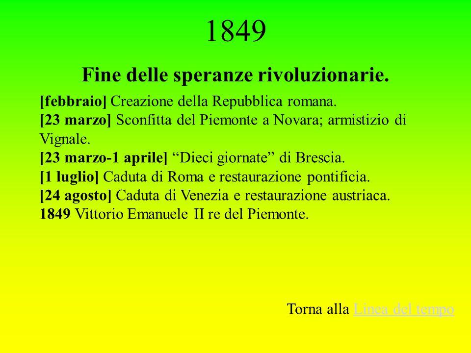 1849 Fine delle speranze rivoluzionarie. [febbraio] Creazione della Repubblica romana. [23 marzo] Sconfitta del Piemonte a Novara; armistizio di Vigna