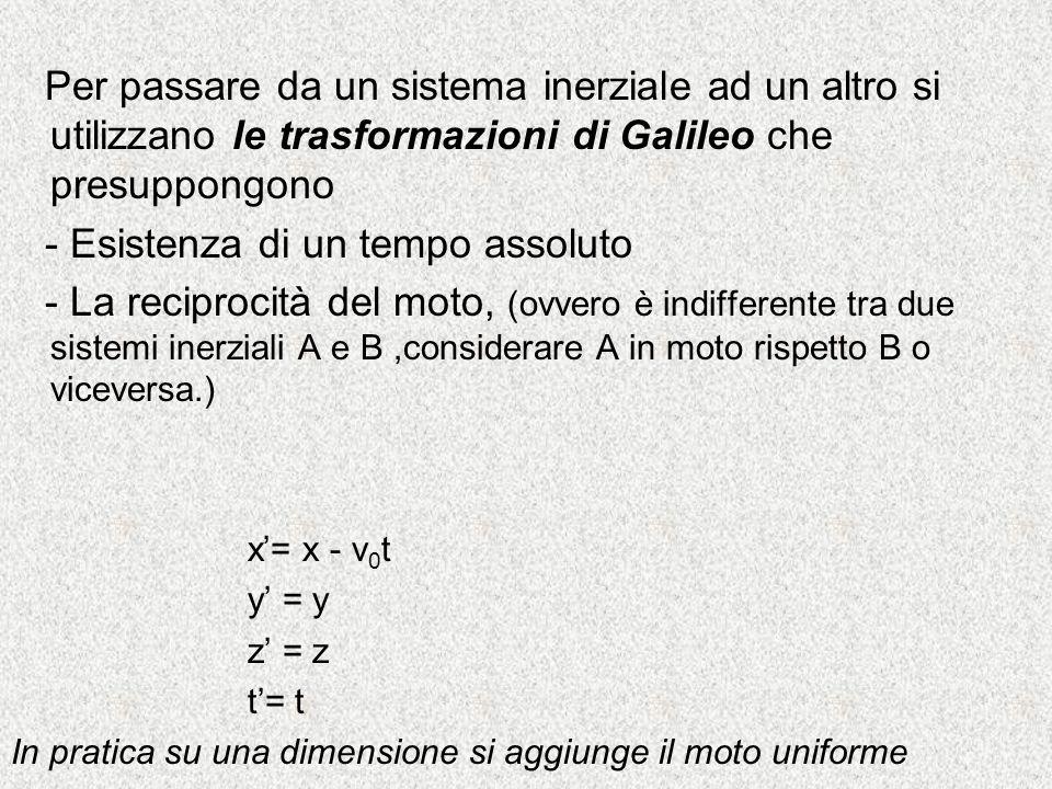 Sistema Inerziale: un sistema di riferimento tale che, rispetto ad esso,vale il principio di inerzia ovvero un corpo permane nel suo stato di moto imp