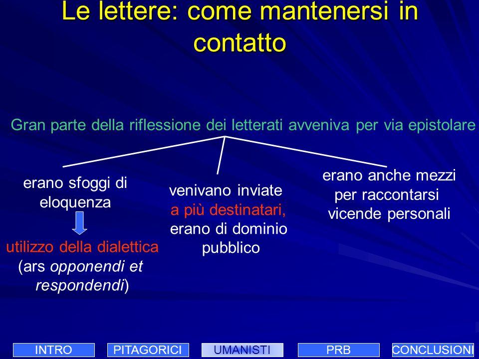 Le lettere: come mantenersi in contatto Gran parte della riflessione dei letterati avveniva per via epistolare venivano inviate a più destinatari, era