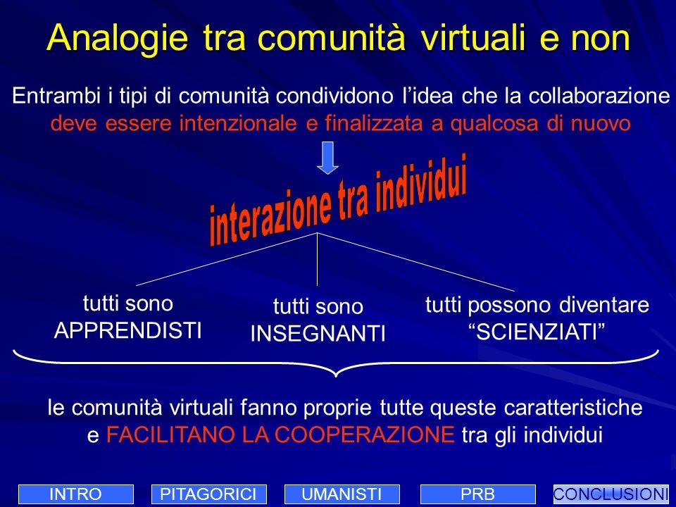 Analogie tra comunità virtuali e non Entrambi i tipi di comunità condividono lidea che la collaborazione deve essere intenzionale e finalizzata a qual