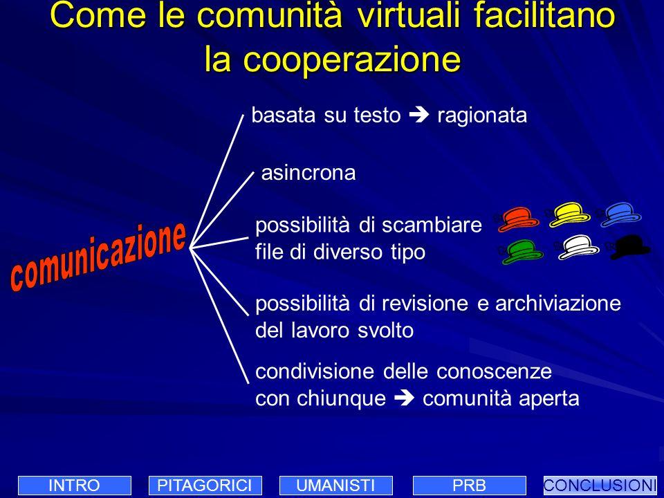 Come le comunità virtuali facilitano la cooperazione asincrona basata su testo ragionata possibilità di scambiare file di diverso tipo possibilità di