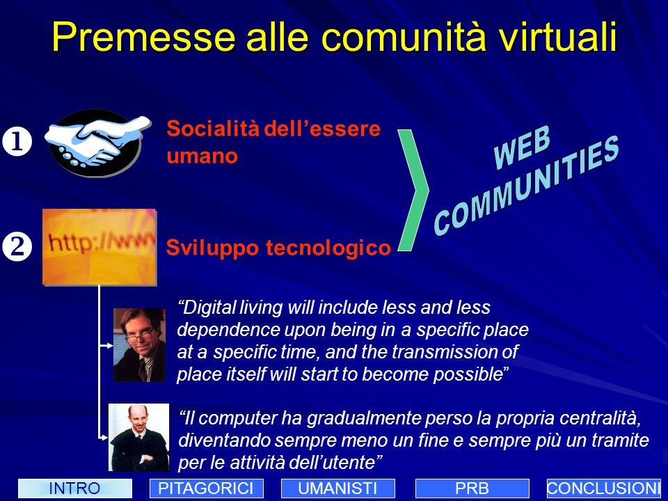 Le comunità virtuali Possono essere di diverso tipo professionali di settore scolastiche i membri condividono delle conoscenze le relazioni sociali sono di tipo collaborativo si coagulano intorno ad obiettivi comuni INTROPITAGORICIUMANISTIPRBCONCLUSIONI
