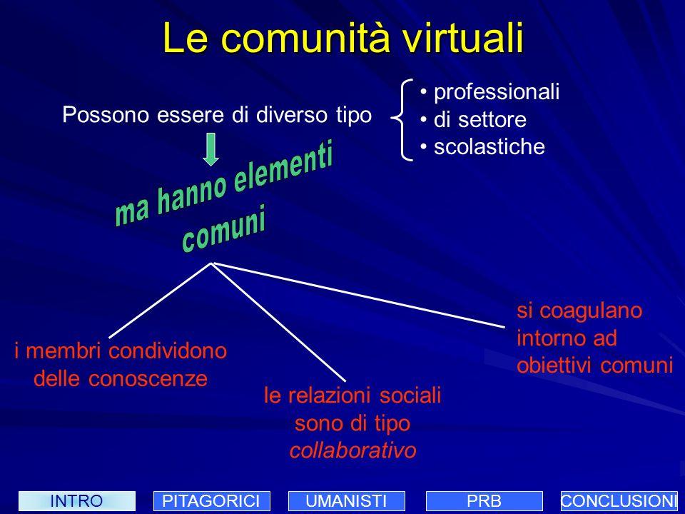 Esempi di comunità virtuali INTROPITAGORICIUMANISTIPRBCONCLUSIONI Strumenti delle web communities mailing lists newsgroup sito web di supporto interazione negoziale