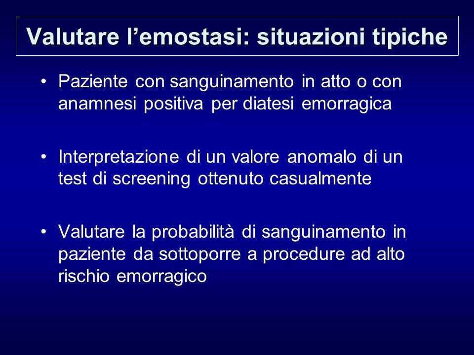 Valutare lemostasi: situazioni tipiche Paziente con sanguinamento in atto o con anamnesi positiva per diatesi emorragica Interpretazione di un valore