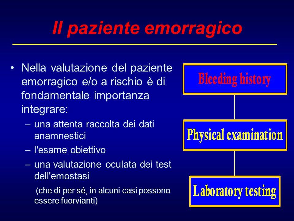 II paziente emorragico Nella valutazione del paziente emorragico e/o a rischio è di fondamentale importanza integrare: –una attenta raccolta dei dati