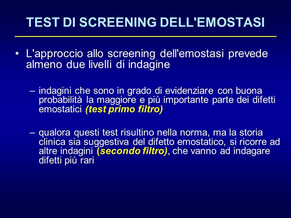 TEST DI SCREENING DELL'EMOSTASI L'approccio allo screening dell'emostasi prevede almeno due livelli di indagine –indagini che sono in grado di evidenz