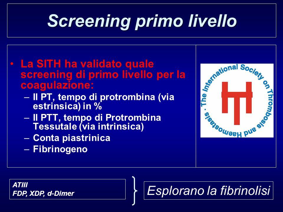 La SITH ha validato quale screening di primo livello per la coagulazione: –Il PT, tempo di protrombina (via estrinsica) in % –Il PTT, tempo di Protrom