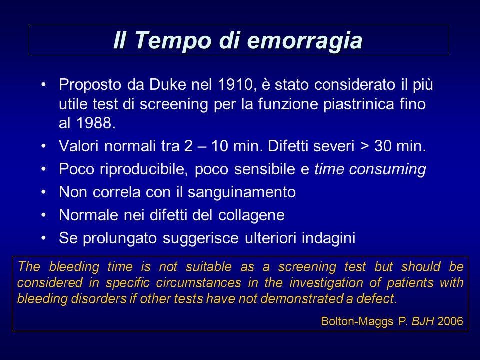Il Tempo di emorragia Proposto da Duke nel 1910, è stato considerato il più utile test di screening per la funzione piastrinica fino al 1988. Valori n