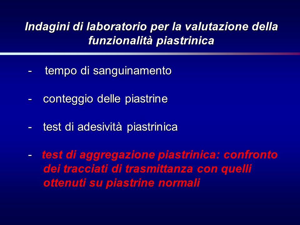 Indagini di laboratorio per la valutazione della funzionalità piastrinica -tempo di sanguinamento -conteggio delle piastrine -test di adesività piastr