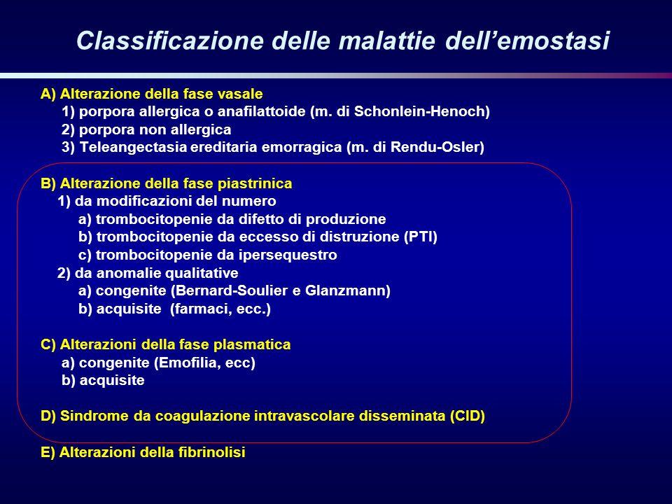 Classificazione delle malattie dellemostasi A) Alterazione della fase vasale 1) porpora allergica o anafilattoide (m. di Schonlein-Henoch) 2) porpora