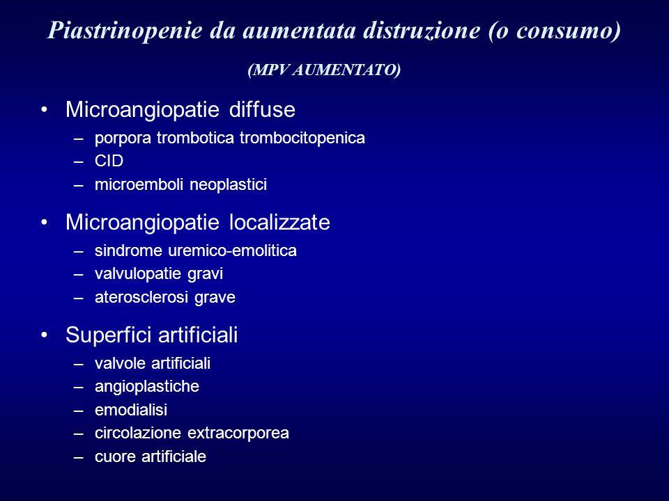 Microangiopatie diffuse –porpora trombotica trombocitopenica –CID –microemboli neoplastici Microangiopatie localizzate –sindrome uremico-emolitica –va