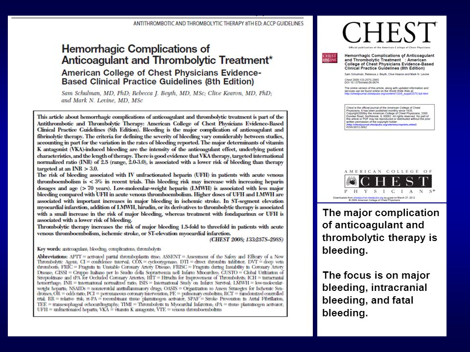 The major complication of anticoagulant and thrombolytic therapy is bleeding. The focus is on major bleeding, intracranial bleeding, and fatal bleedin