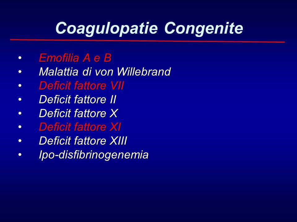 Coagulopatie Congenite Emofilia A e B Emofilia A e B Malattia di von Willebrand Malattia di von Willebrand Deficit fattore VII Deficit fattore VII Def